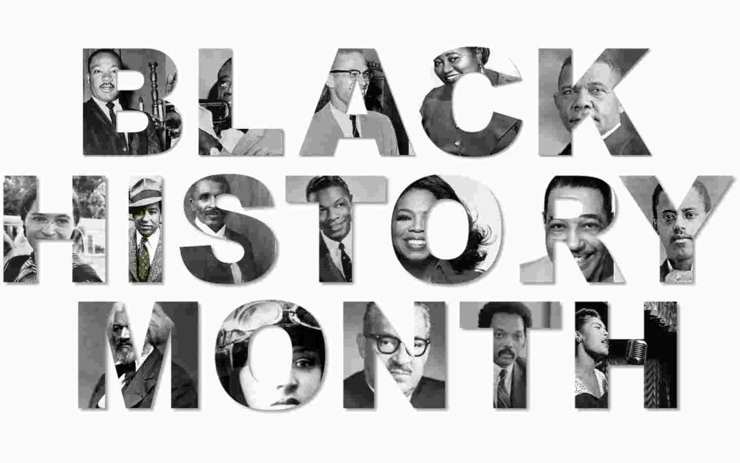Graphic with text: Black History Month