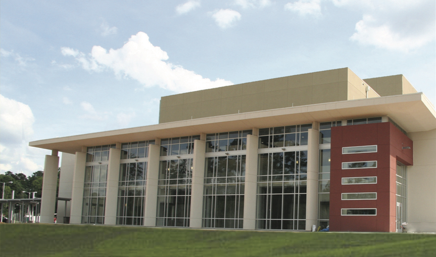 A front view of the exterior of the Chipola College Center for the Performing Arts