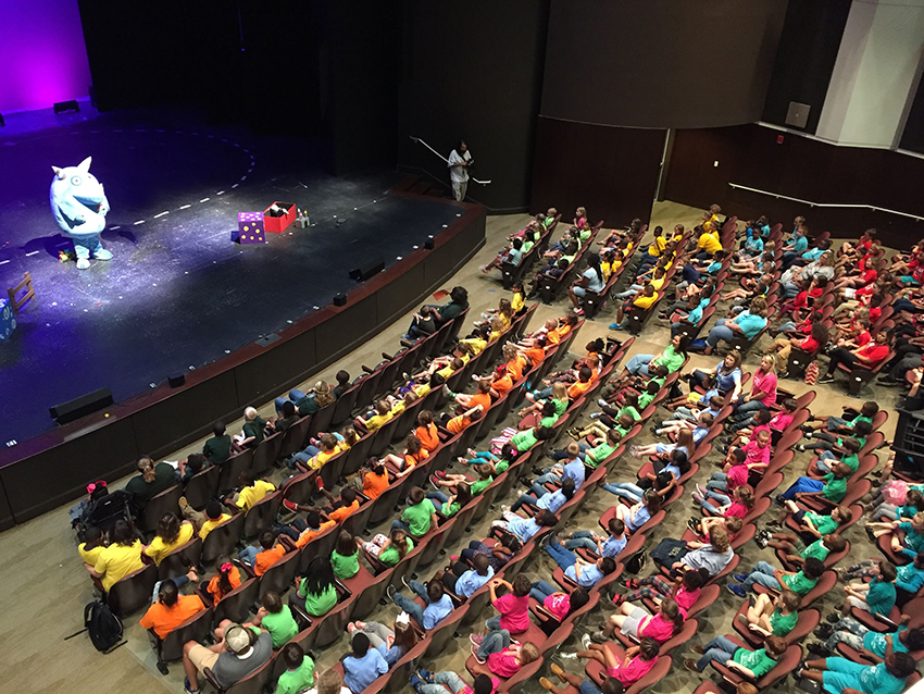 Hundreds of elementary students enjoy theatre for the first time.